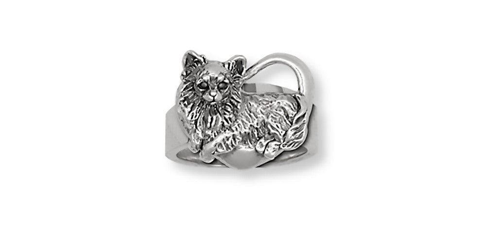 Long Hair Chihuahua Charms Long Hair Chihuahua Ring Handmade Sterling Silver Dog Jewelry Long Hair Chihuahua jewelry