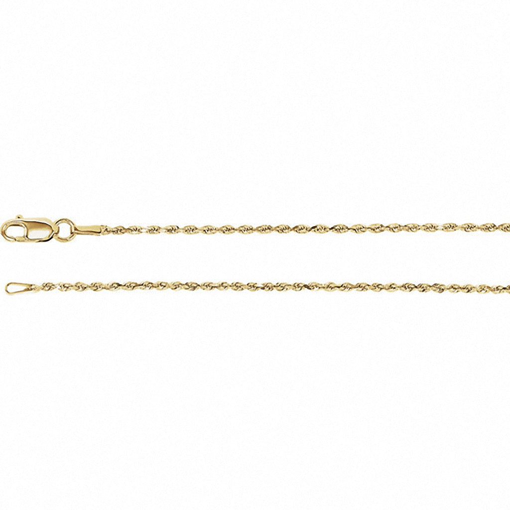 Diamond Cut Rope Chain, 16 Inches Long 1.3 Mm  - Ch947 Charms Diamond Cut Rope Chain, 16 Inches Long 1.3 Mm  - Ch947  14k Yellow Gold  Jewelry Diamond Cut Rope Chain, 16 Inches Long 1.3 mm  - CH947 jewelry