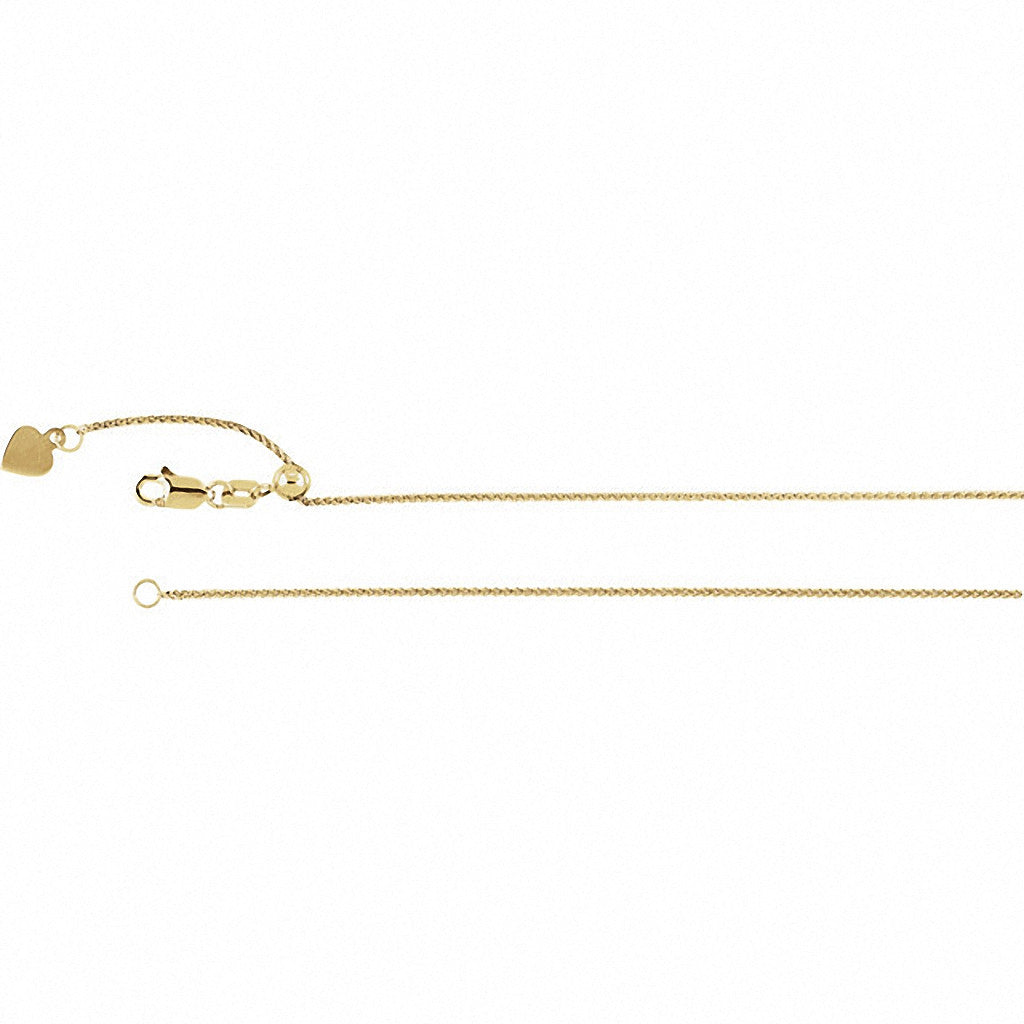 Adjustable Wheat Chain, 22 Inches Long .95 Mm  - Ch899g Charms Adjustable Wheat Chain, 22 Inches Long .95 Mm  - Ch899g  14k Yellow Gold  Jewelry Adjustable Wheat Chain, 22 inches Long .95 mm  - CH899G jewelry