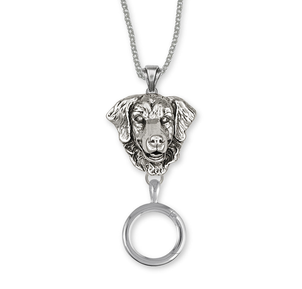 Golden Retriever Charms Golden Retriever Charm Holder Sterling Silver Dog Jewelry Golden Retriever jewelry