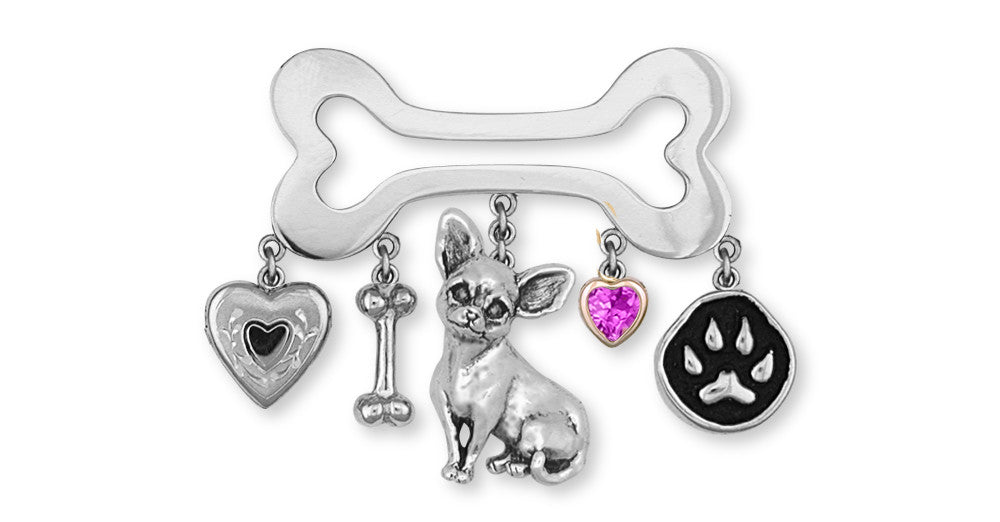 Chihuahua Dog Charms Chihuahua Dog Brooch Pin Handmade Sterling Silver Dog Jewelry Chihuahua Dog jewelry