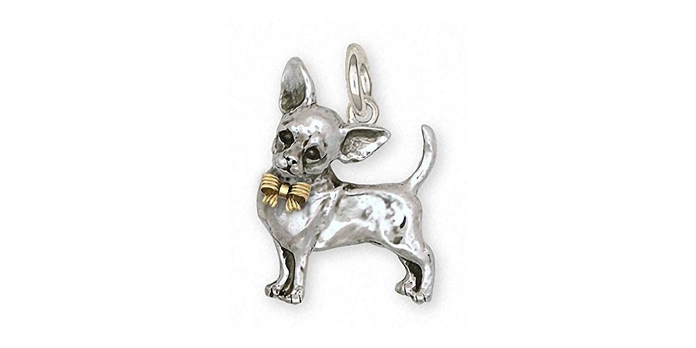 Chihuahua Charms Chihuahua Charm Silver And 14k Gold Dog Jewelry Chihuahua jewelry