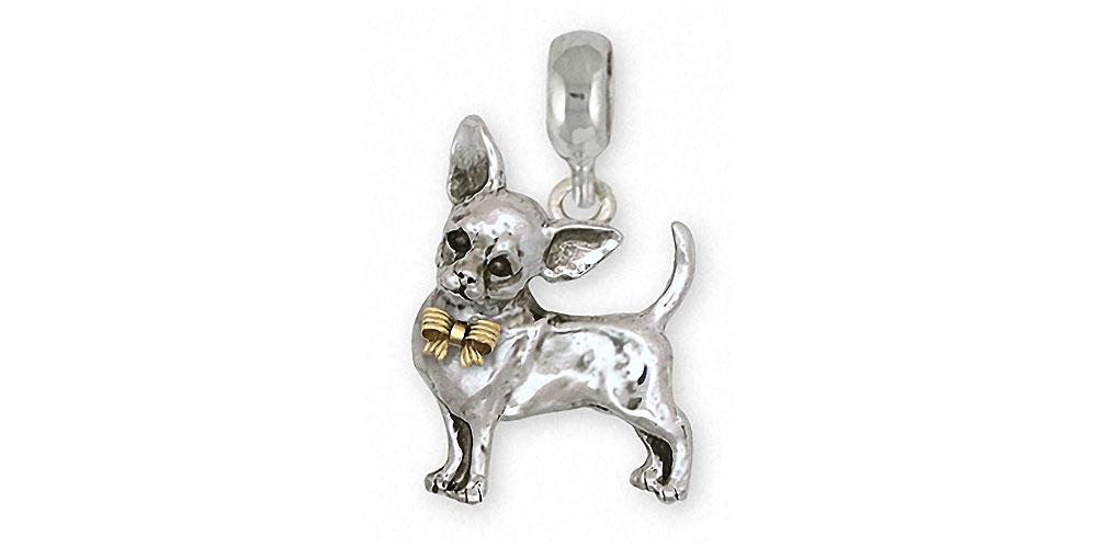 Chihuahua Charms Chihuahua Charm Slide Silver And 14k Gold Dog Jewelry Chihuahua jewelry