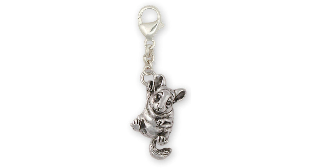 Chinchilla Charms Chinchilla Zipper Pull Sterling Silver Chinchilla Jewelry Chinchilla jewelry