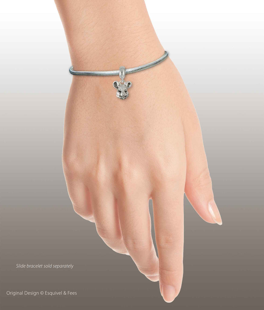 Chinchilla Jewelry Sterling Silver Handmade Chinchilla Charm Slide This Charm Will Fit A Pandora® Slide Bracelet CL8-PNS