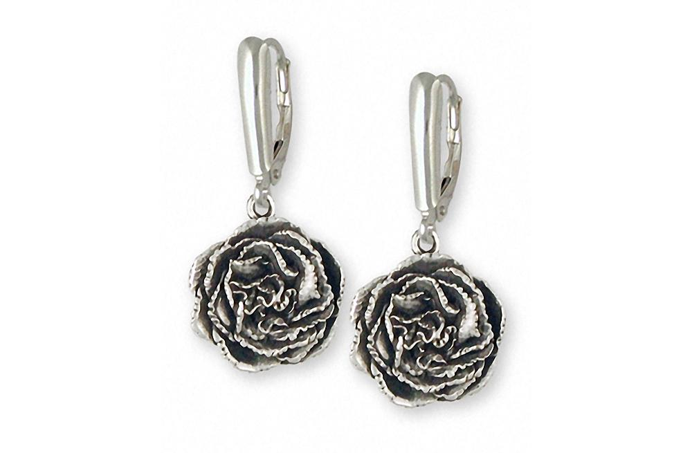 Carnation Charms Carnation Earrings Sterling Silver Flower Jewelry Carnation jewelry