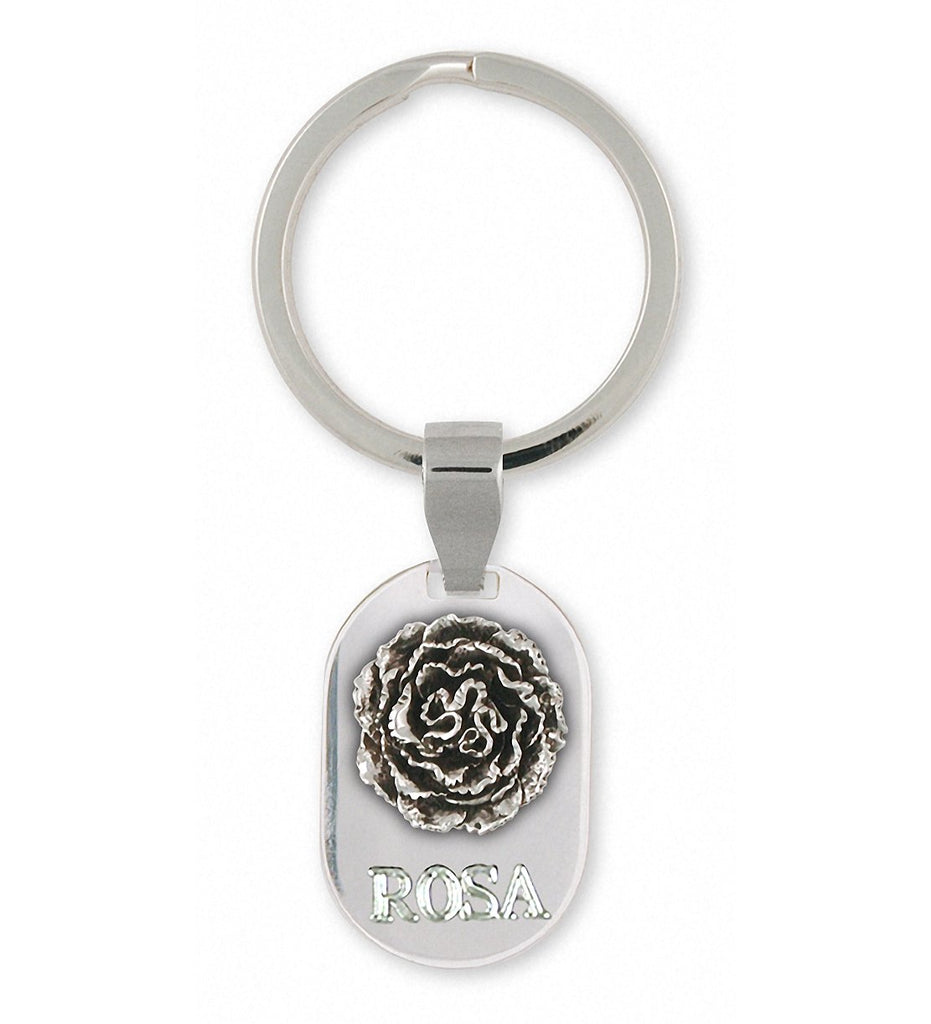 Carnation Charms Carnation Key Ring Sterling Silver Flower Jewelry Carnation jewelry