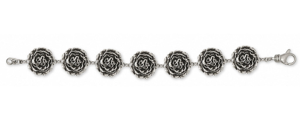 Carnation Charms Carnation Bracelet Sterling Silver Flower Jewelry Carnation jewelry