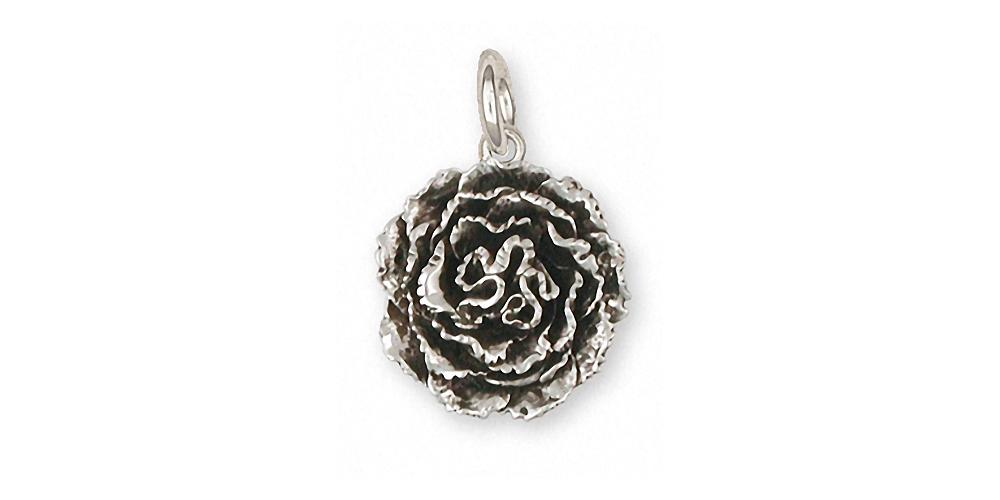 Carnation Charms Carnation Charm Sterling Silver Flower Jewelry Carnation jewelry