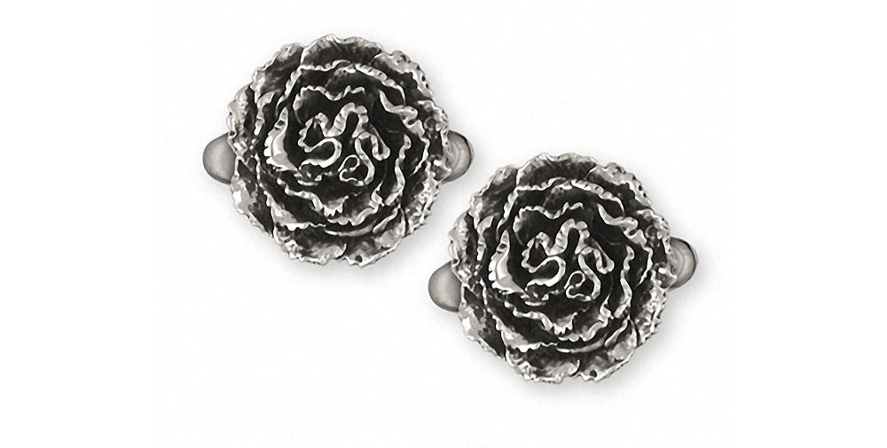 Carnation Charms Carnation Cufflinks Sterling Silver Flower Jewelry Carnation jewelry