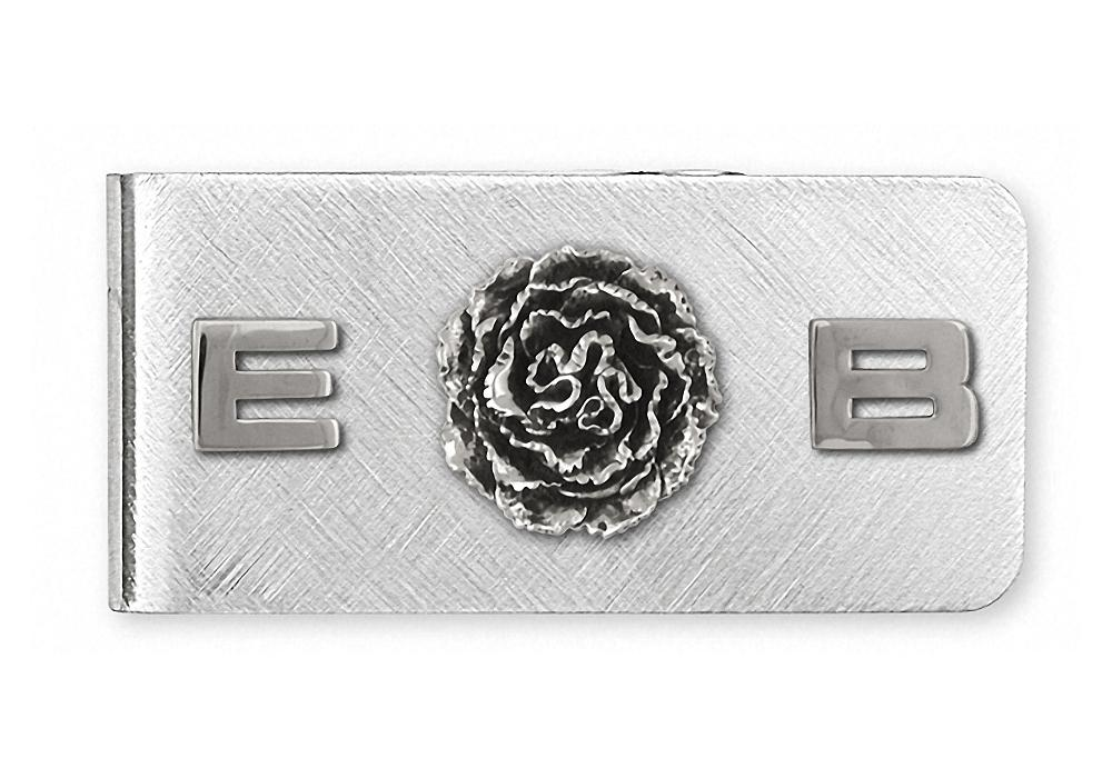 Carnation Charms Carnation Money Clip Sterling Silver Flower Jewelry Carnation jewelry