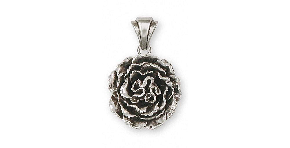 Carnation Charms Carnation Pendant Sterling Silver Flower Jewelry Carnation jewelry