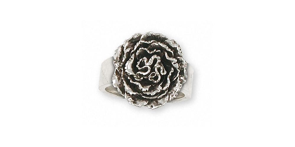 Carnation Charms Carnation Ring Sterling Silver Flower Jewelry Carnation jewelry