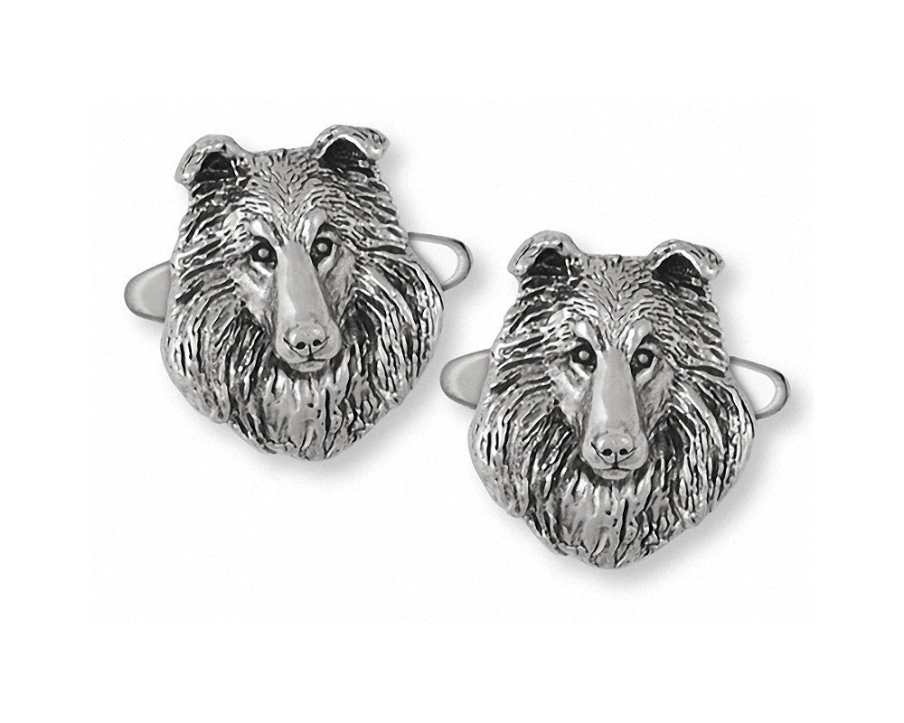 Collie Charms Collie Cufflinks Sterling Silver Dog Jewelry Collie jewelry