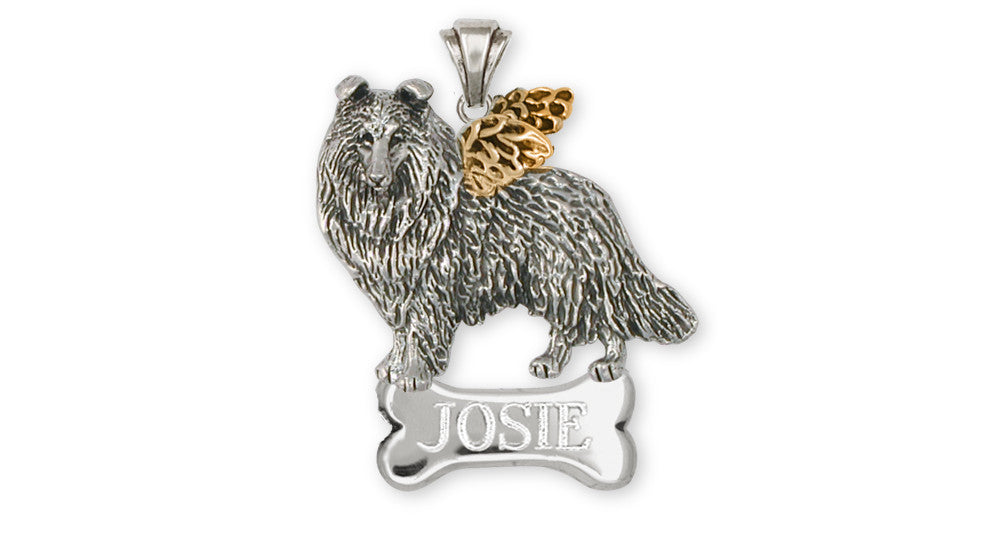 Collie Charms Collie Pendant Silver And Gold Dog Jewelry Collie jewelry