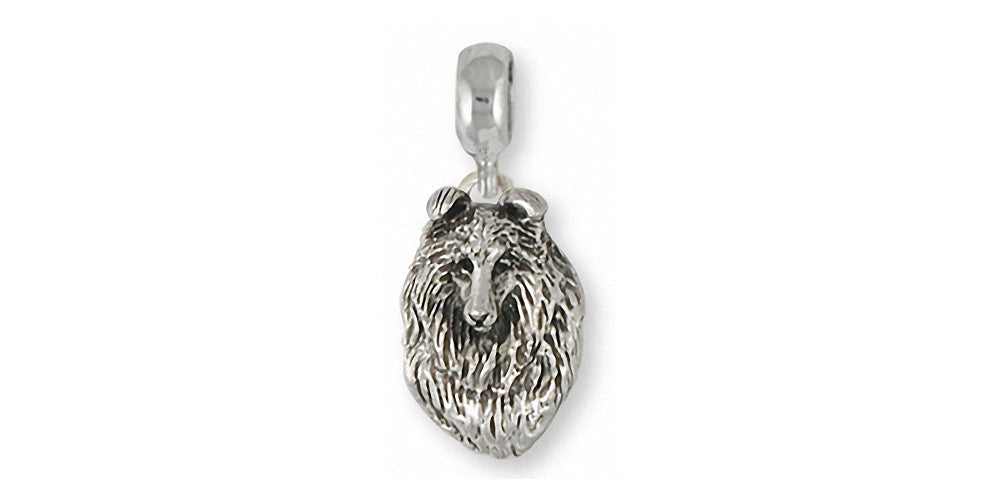 Collie Charms Collie Charm Slide Sterling Silver Dog Jewelry Collie jewelry