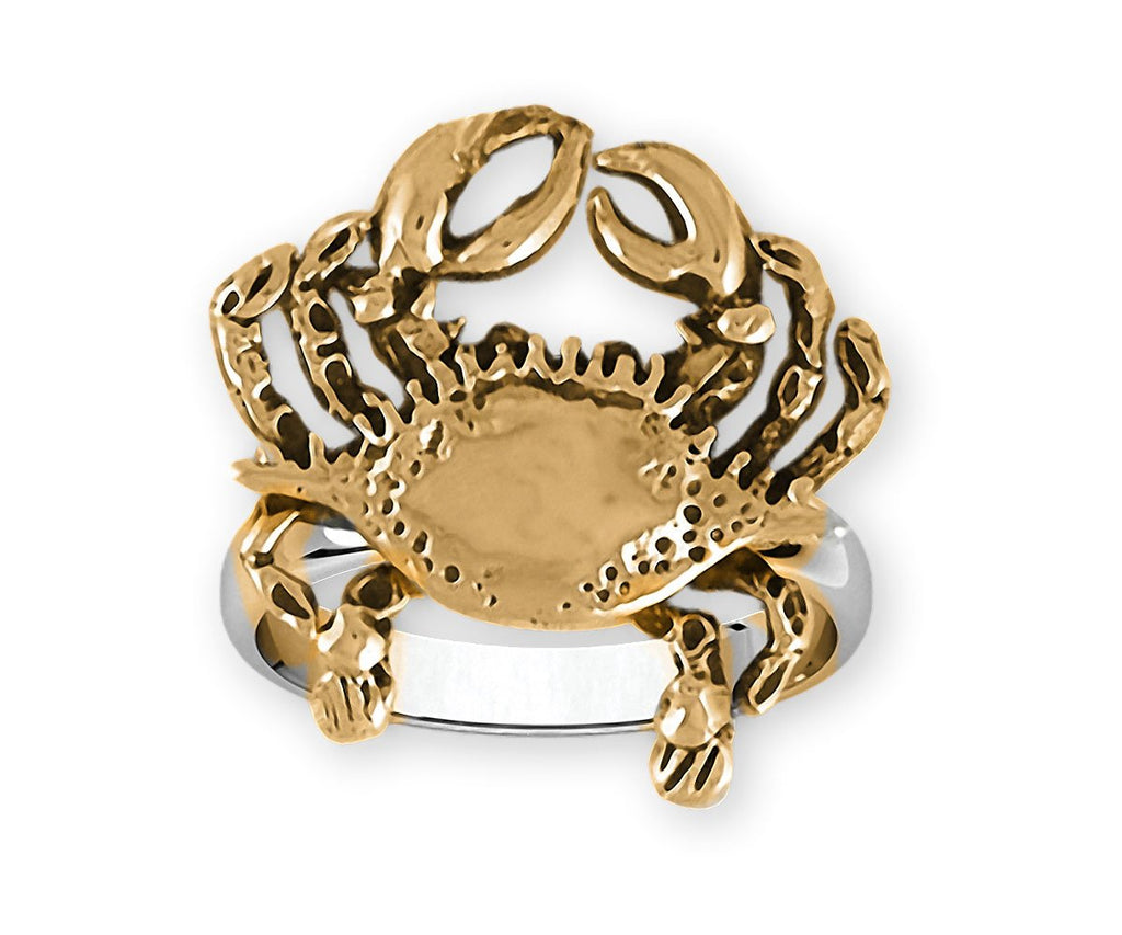 Crab Charms Crab Ring Silver And 14k Gold Crab Jewelry Crab jewelry