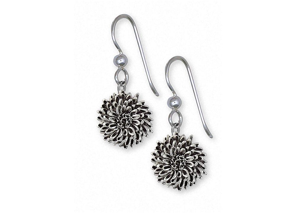 Chrysanthemum Charms Chrysanthemum Earrings Sterling Silver Flower Jewelry Chrysanthemum jewelry