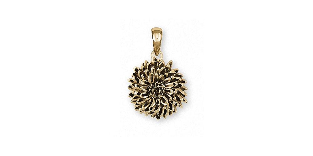 Chrysanthemum Charms Chrysanthemum Pendant 14k Gold Flower Jewelry Chrysanthemum jewelry