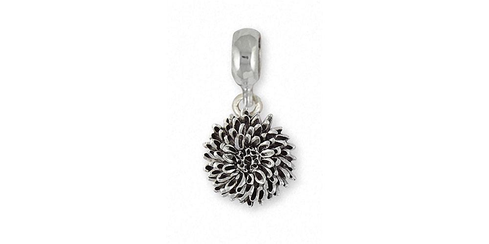 Chrysanthemum Charms Chrysanthemum Charm Slide Sterling Silver Flower Jewelry Chrysanthemum jewelry