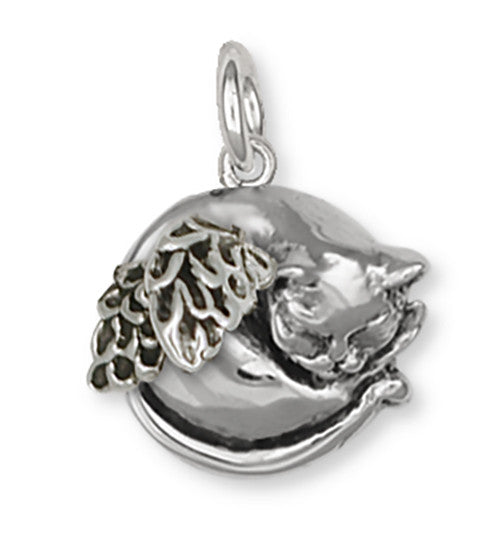 Cat Angel Charm Handmade Sterling Silver Cat Jewelry CT52-AC