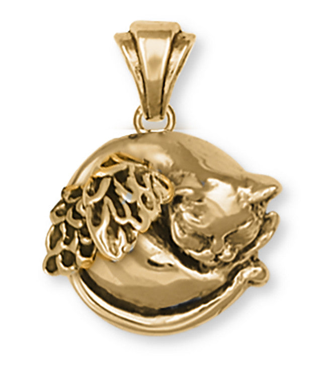 Cat Angel Pendant 14k Yellow Gold Vermeil Cat Jewelry CT52-APVM