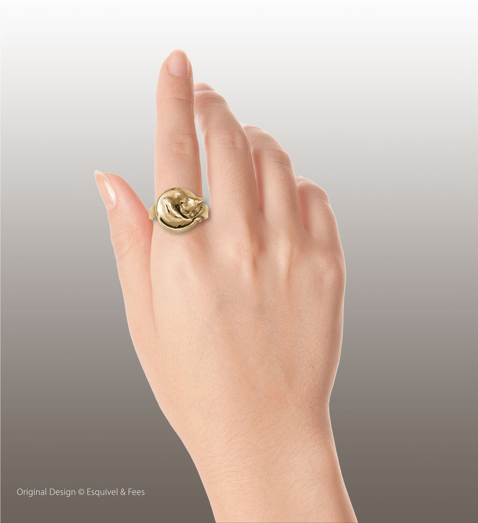 Cat Jewelry 14k Yellow Gold Handmade Cat Ring  CT52-RG