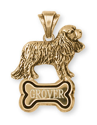 Cavalier King Charles Spaniel Personalized Pendant Jewelry Handmade 14k Yellow Gold Vermeil CV10-BNPVM