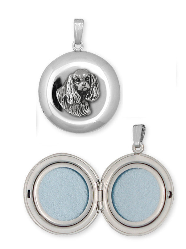 Cavalier King Charles Spaniel Photo Locket Jewelry Handmade Sterling Silver CV11-D