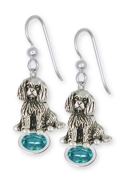 Cavalier King Charles Spaniel Birthstone Earrings Jewelry Handmade Sterling Silver CV14-SE