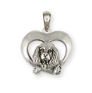 Cavalier King Charles Spaniel Pendant Jewelry Handmade Sterling Silver CV16-P
