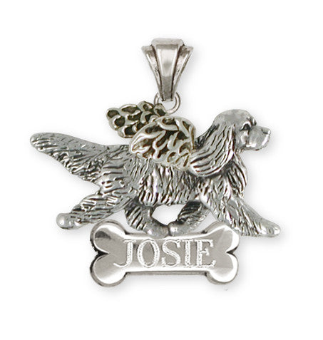 Cavalier King Charles Spaniel  Angel Pendant Jewelry Handmade Sterling Silver CV21-ANP