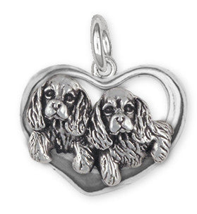 Double Cavalier King Charles Spaniel Charm Jewelry Handmade Sterling Silver CV24-C