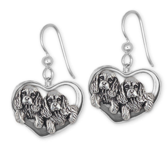 Cavalier King Charles Spaniel French Wire Earrings Jewelry Handmade Sterling Silver CV24-E
