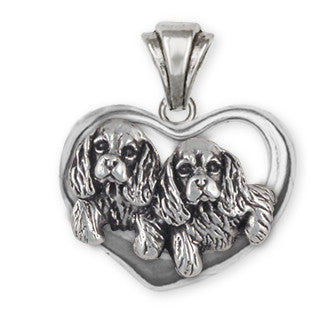 Double Cavalier King Charles Spaniel Pendant Jewelry Handmade Sterling Silver CV24-P