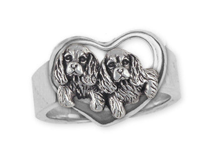Double Cavalier King Charles Spaniel Ring Jewelry Handmade Sterling Silver CV24-R