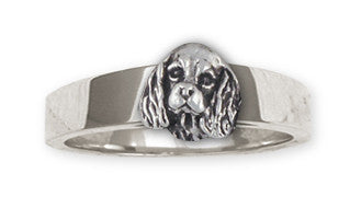 Double Cavalier King Charles Spaniel Ring Jewelry Handmade Sterling Silver CV24H-R
