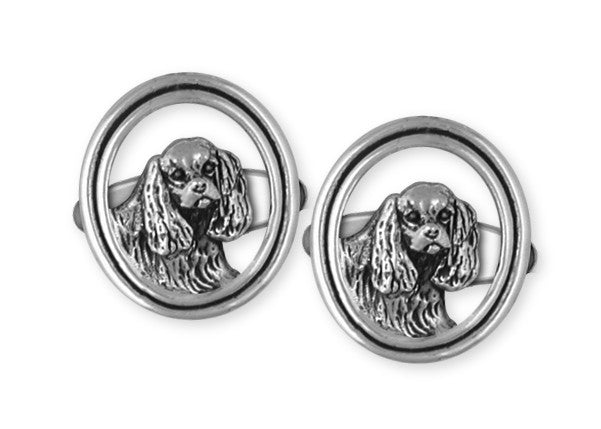 Cavalier King Charles Spaniel Cuff Links Jewelry Handmade Sterling Silver CV5-CL
