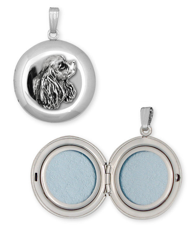 Cavalier King Charles Spaniel Photo Locket Jewelry Handmade Sterling Silver CV7-D