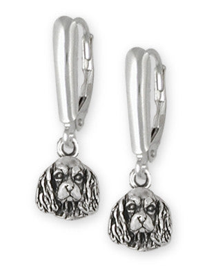 Cavalier King Charles Spaniel Leverback Earrings Jewelry Handmade Sterling Silver CV8-LB