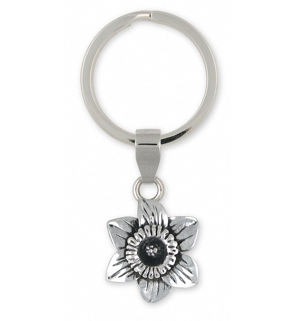 Daffodil Charms Daffodil Key Ring Sterling Silver Flower Jewelry Daffodil jewelry