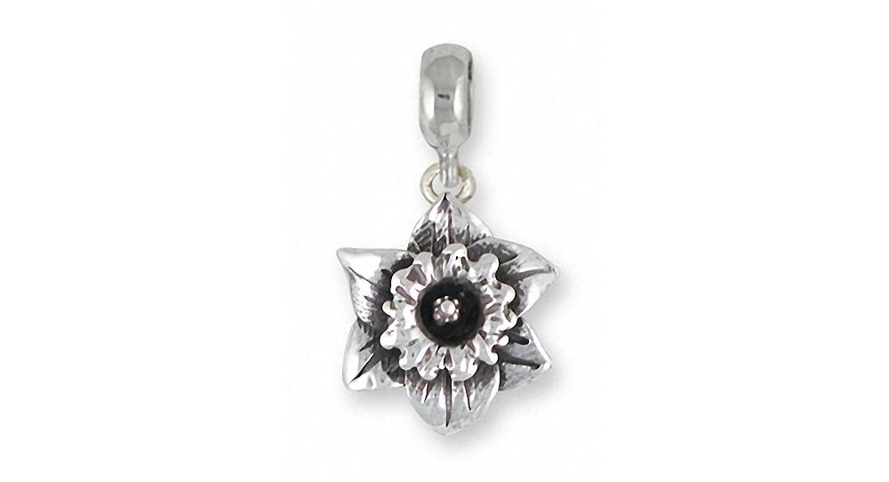 Daffodil Charms Daffodil Charm Slide Sterling Silver Flower Jewelry Daffodil jewelry