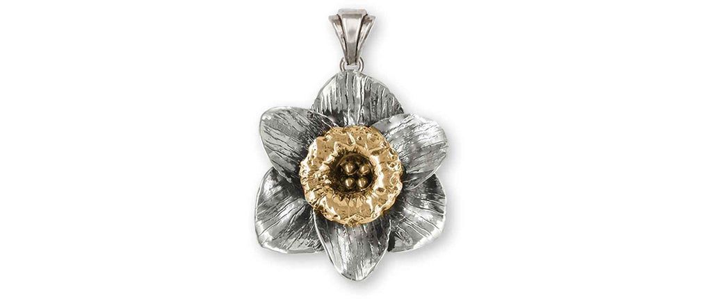 Daffodil Charms Daffodil Pendant Silver And 14k Gold Daffodil Flower Jewelry Daffodil jewelry