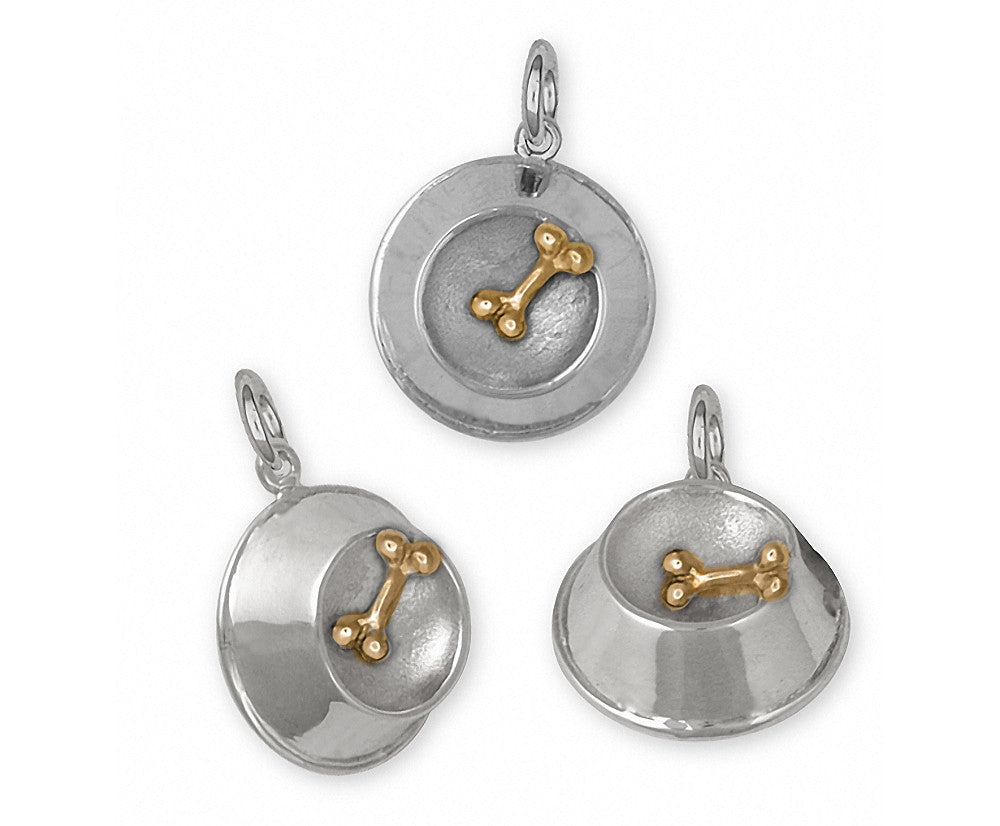 Dog Bowl Charms Dog Bowl Charm Silver And Gold Dog Jewelry Dog Bowl jewelry