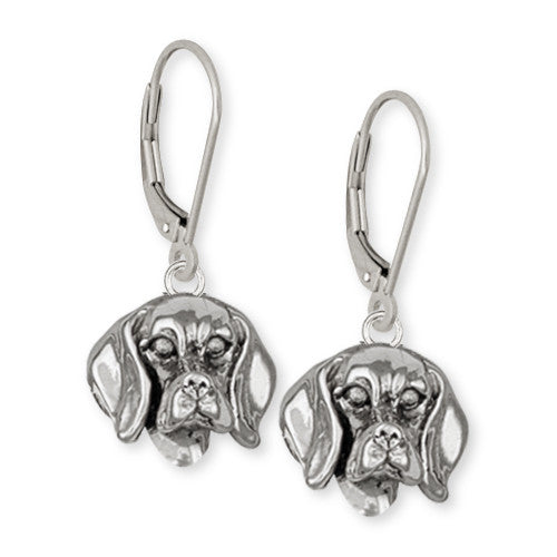 Beagle Dog Earrings Jewelry Handmade Sterling Silver  DG10-LB
