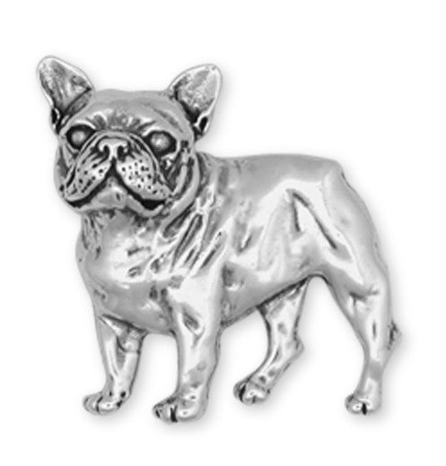 French Bulldog Brooch Pin Handmade Sterling Silver Dog Jewelry DG11-BR