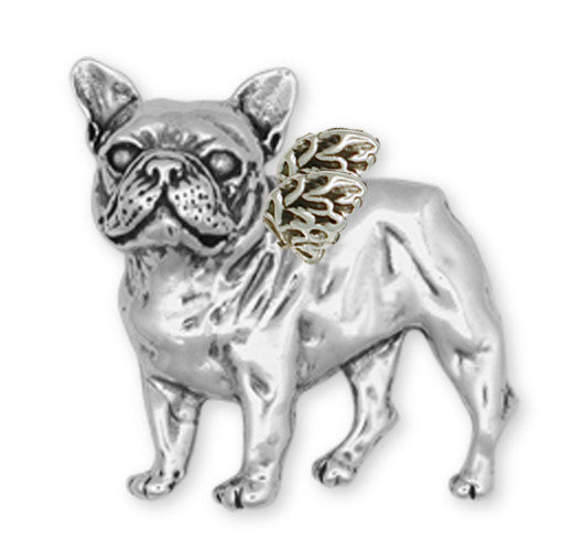 French Bulldog Angel Brooch Pin Handmade Sterling Silver Dog Jewelry DG11A-BR