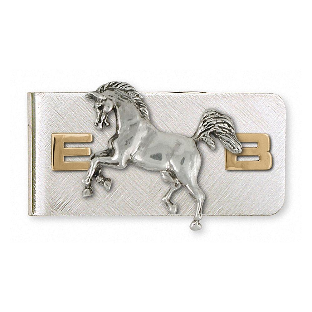 Horse Charms Horse Money Clip Silver And 14k Gold Horse Jewelry Horse jewelry