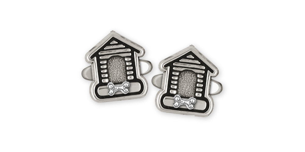 Dog House Charms Dog House Cufflinks Sterling Silver Dog Jewelry Dog House jewelry