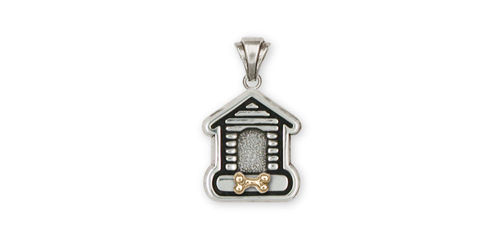 Dog House Charms Dog House Pendant Silver And Gold Dog Jewelry Dog House jewelry